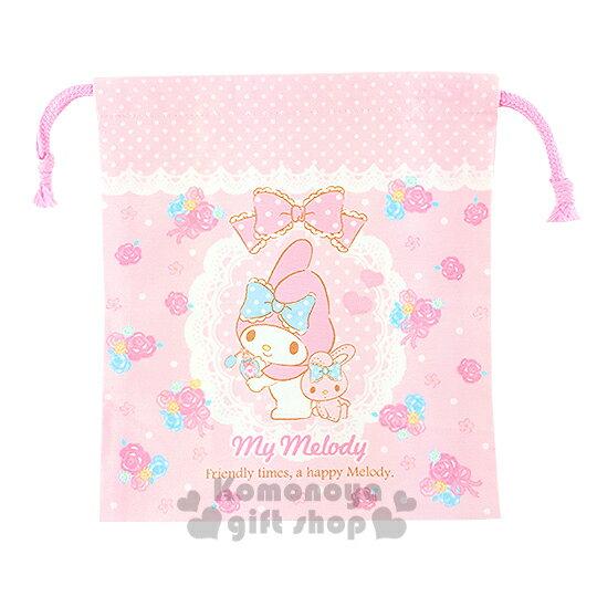 〔小禮堂〕美樂蒂 日製棉質束口袋《粉.點點.兔子.蕾絲.玫瑰》