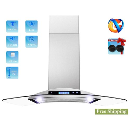 """AKDY 36"""" AK-198KN36CF Stainless Steel Wall Range Hood Carbon Filter Included For Ventless/Ductless Options 0"""