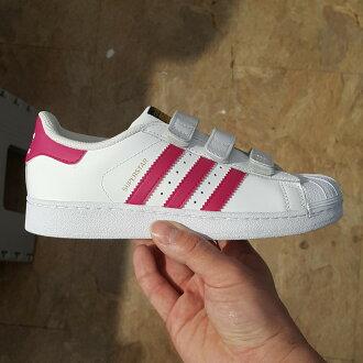 adidas SUPERSTAR FOUNDATION CF C 魔鬼氈 金標 大童鞋 白色 桃紅色 皮革 最大21.5 B23665