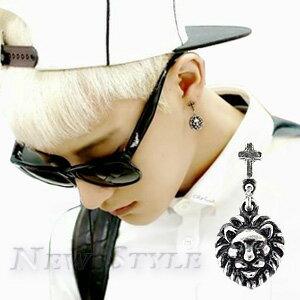 ☆ New Style ☆ 韓國進口 時尚魅力 EXO 西德鋼 十字雄獅耳釘耳環 男女可戴 (單支價)