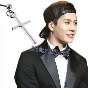 ☆ New Style ☆ GOT7 Jackson 王嘉爾 同款十字銀光球掛穿刺耳環 (單支價)