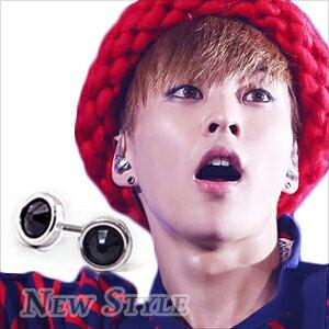 ☆ New Style ☆ 韓國進口 EXO XIUMIN 金珉錫 金珉碩 EXODUS 同款銀環鑲鑽耳釘耳環 (單支價)