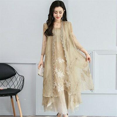 休閒套裝無袖洋裝(兩件套)-繡花歐根紗長款純色女裙裝73ri48【獨家進口】【米蘭精品】