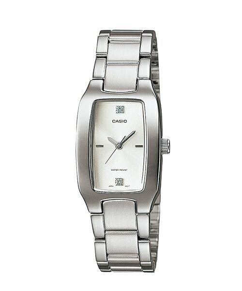 CASIO 簡約酒桶石英女錶-白/晶鑽刻(LTP-1165A-7C2)