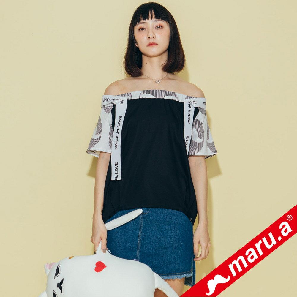【maru.a】一字領超美織帶拼接上衣 8323117 0