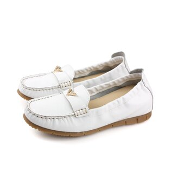 HUMANPEACE皮革懶人鞋平底鞋休閒鞋白色女鞋151162no001