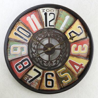 美式輪盤懷古藝術數字壁鐘十天