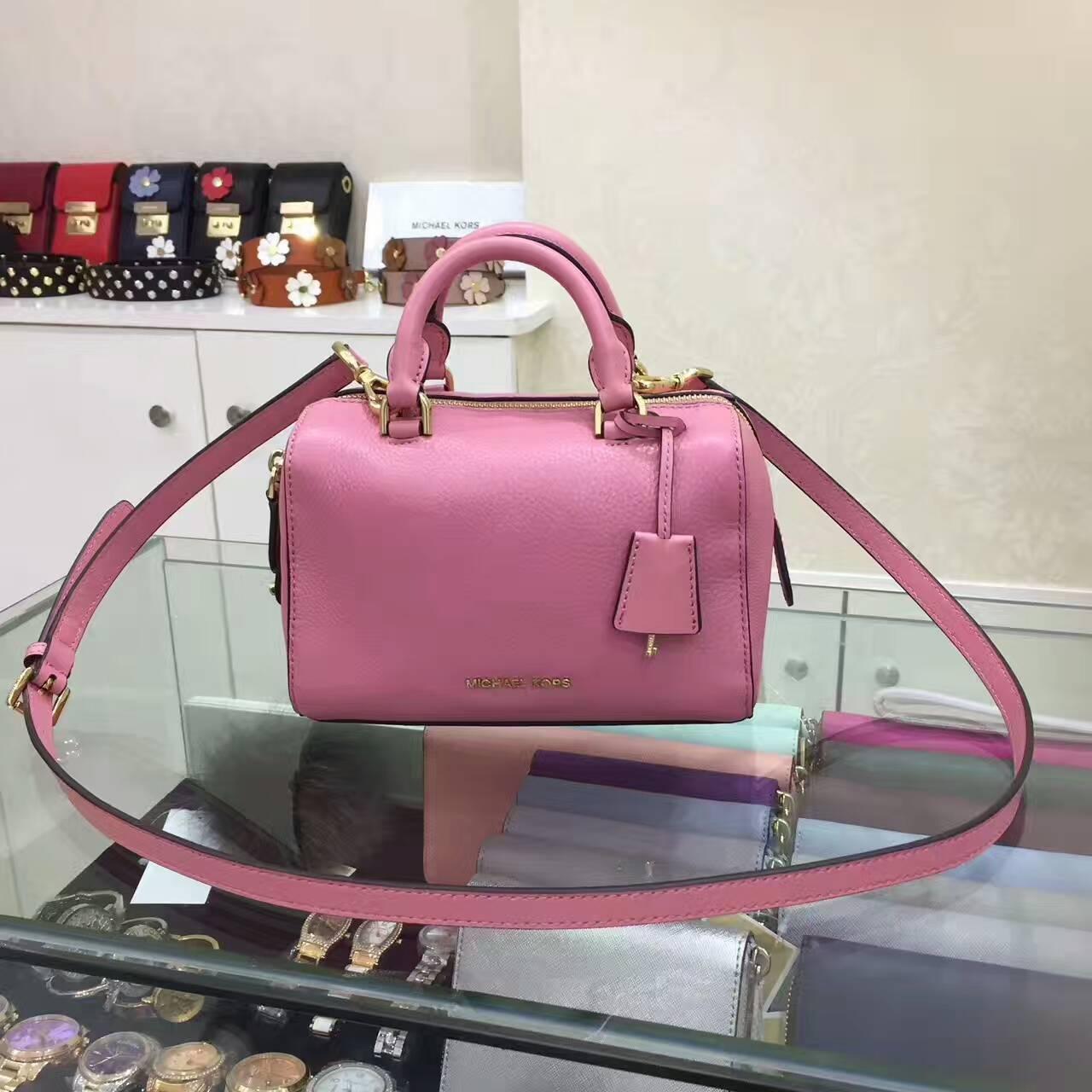 OUTLET美國代購 Michael Kors MK 波士頓皮鎖頭枕頭包 手提包 肩背包 斜背包 粉色