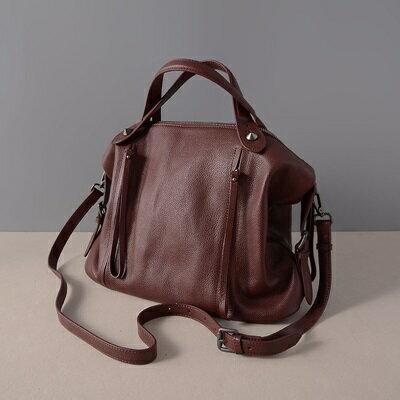肩背包真皮手提包-大容量純色荔枝紋牛皮女包包2色73ut12【獨家進口】【米蘭精品】 0