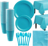 Caribbean Blue Plastic Tableware Kit for 50 Guests, Party Supplies