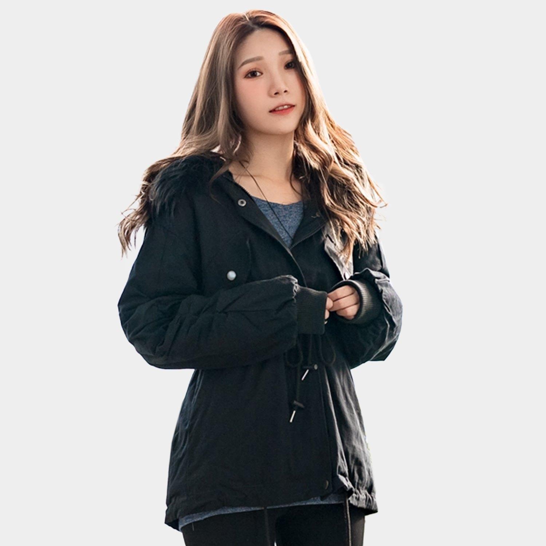秋冬--保暖舒適毛領內裡加絨皺褶羅紋口袋寬鬆綁腰修身連帽外套(黑L-4L)-J257眼圈熊中大尺碼 0