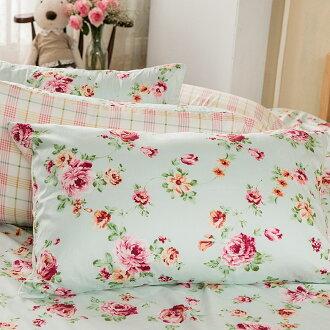 枕套 / 枕頭套-100%精梳棉【玫瑰粉格】美式信封枕套,花語系列,戀家小舖,台灣製