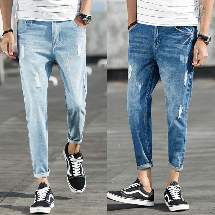 經典潮流日系破洞造型百搭9分牛仔褲
