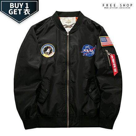 Free Shop:FreeShop送T恤美國太空總署NASA刺繡貼章MA-1飛行外套有大尺碼軍綠色黑色空軍藍色【QTJYZ8805】