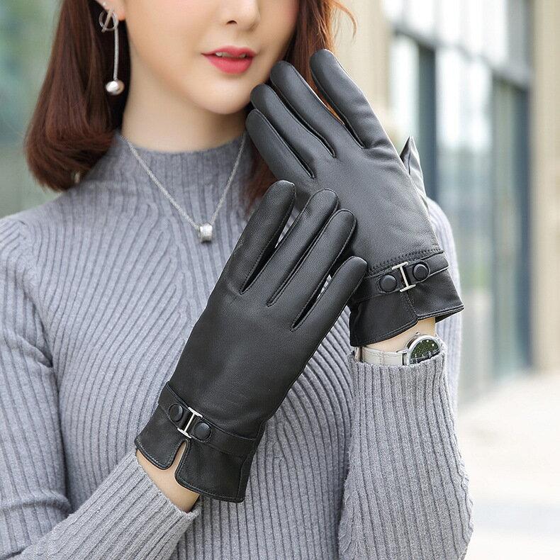 真皮手套保暖手套-羊皮加厚加絨黑色女手套73wm72【獨家進口】【米蘭精品】 2