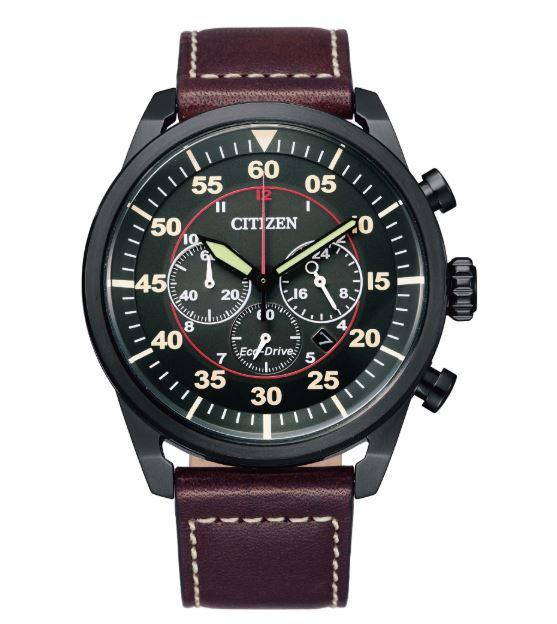 清水鐘錶 CITIZEN 星辰 CA4218-14E Eco-Drive光動能 飛行者三眼計時手錶 黑 44mm
