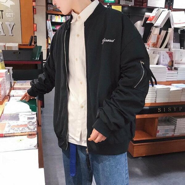 FINDSENSEH12018春季背後英文印花棒球服寬松夾克外套