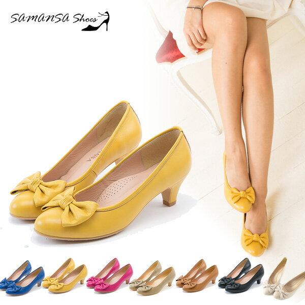 samansa莎曼莎手工鞋:[SAMANSA]台灣製完美腿型大蝴蝶結飾中跟鞋#14302亮麗黃
