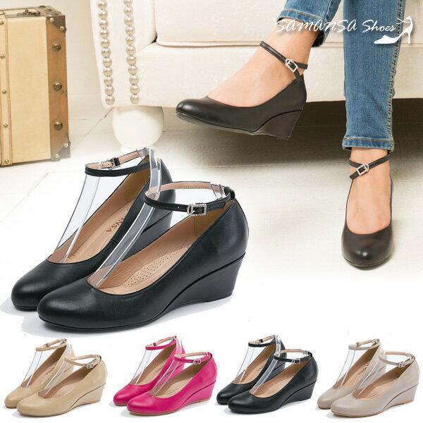 [SAMANSA]  氣質百搭繫帶兩穿式楔形跟鞋#14304 經典黑