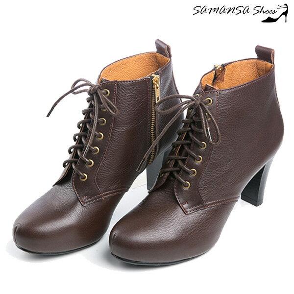 samansa莎曼莎手工鞋:【SAMANSA】MIT全真皮率性時尚內增高綁帶高跟短靴--深咖啡