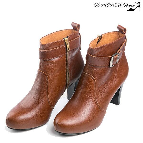 samansa莎曼莎手工鞋:【SAMANSA】MIT全真皮帥氣內增高皮帶扣飾拼接寬口踝靴-復古棕