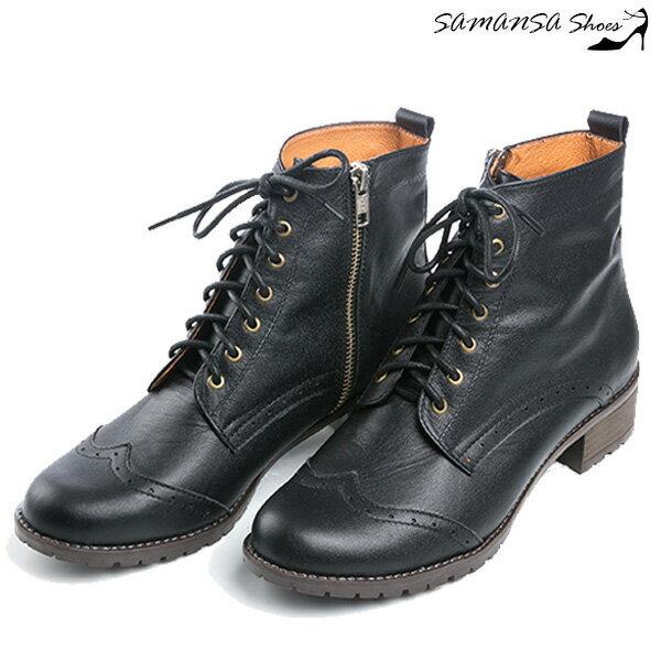 samansa莎曼莎手工鞋:【SAMANSA】MIT全真皮街頭時尚側拉鍊綁帶馬汀靴-簡約黑