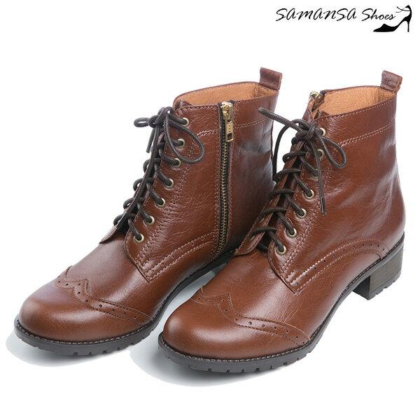 【SAMANSA】MIT全真皮 街頭時尚側拉鍊綁帶馬汀靴 --復古棕