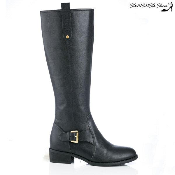 samansa莎曼莎手工鞋:【SAMANSA】MIT全真皮簡約俐落皮質拼接方釦平底長靴--簡約黑