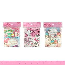 日本進口 三麗鷗 雙子星 美樂蒂 凱蒂貓 面紙 Pocket Tissue 方便隨身攜帶 (4包入) 101235