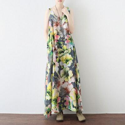 連身長裙寬版連衣裙-春夏優雅花朵無袖女上衣73sm26【獨家進口】【米蘭精品】