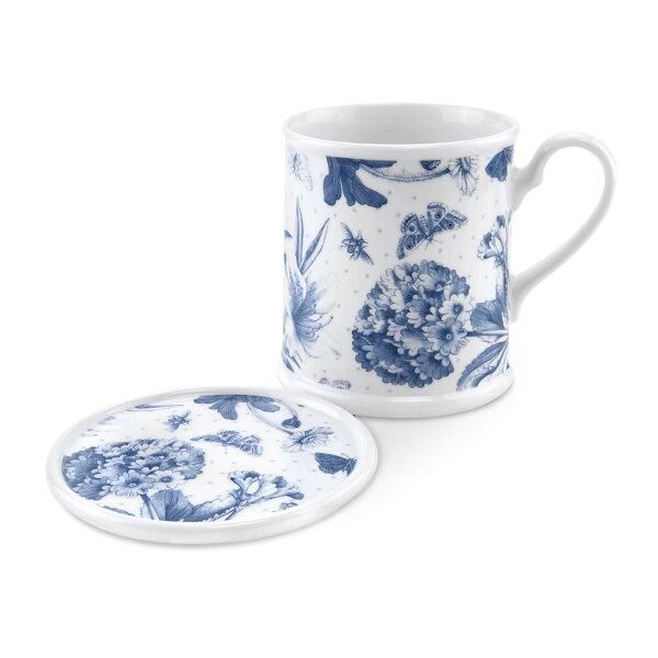 英國Portmeirion植物藍280ML有蓋馬克杯兩件組