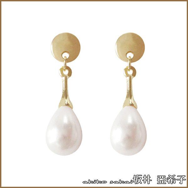 『坂井.亞希子』珍珠球狀水滴垂墜耳環