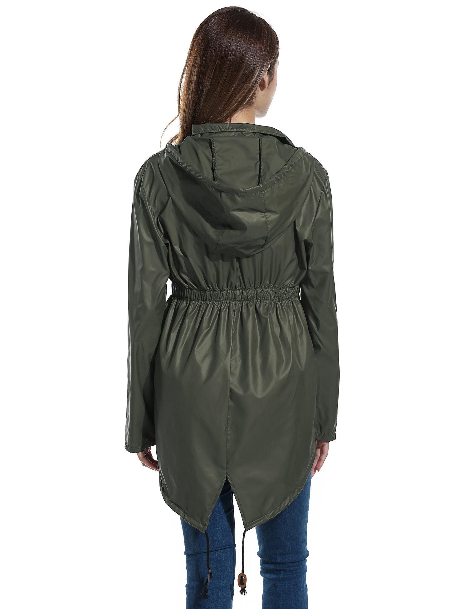 Women Dot Raincoat Fishtail Hooded Print Jacket 4