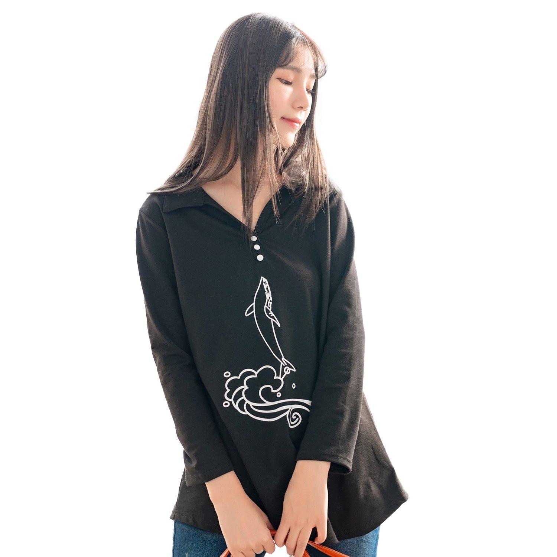 長版上衣--文青風海豚浪花胸前抓皺鈕扣A字襯衫領長袖上衣(黑.紅.藍M-3L)-X333眼圈熊中大尺碼 2