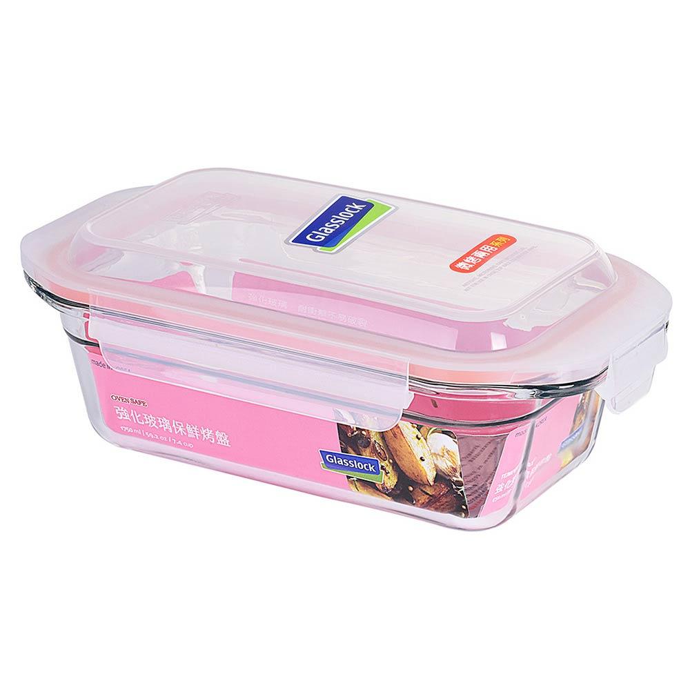 Glasslock 微烤兩用強化玻璃保鮮盤-長方形1750ml/韓國製造/可微波/烤箱烘焙使用/耐瞬間溫差160度/加高上蓋大容量存放