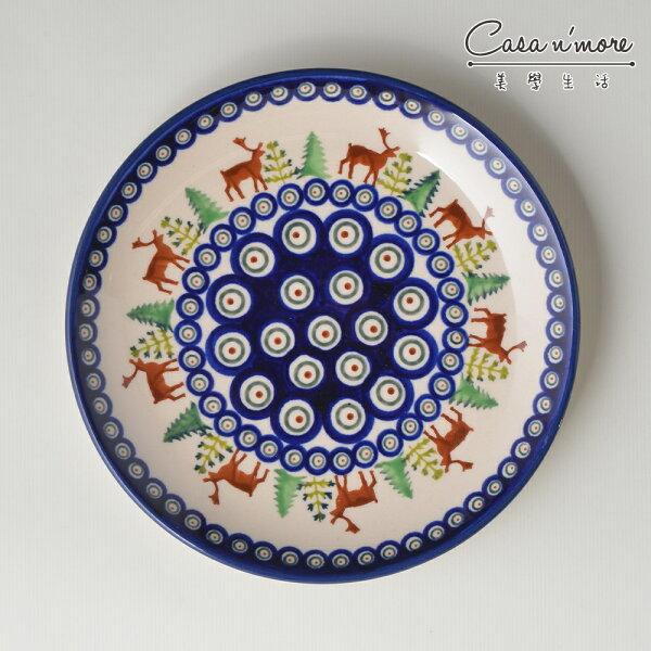 波蘭陶歡樂聖誕系列淺底圓形餐盤陶瓷盤菜盤點心盤圓盤沙拉盤19cm波蘭手工製