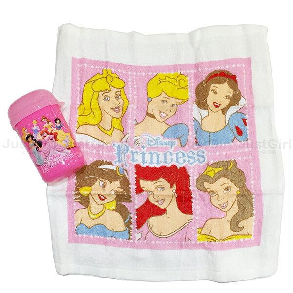 迪士尼公主 小方巾 毛巾 手帕 擦手巾 旅行組 白雪睡美人貝兒愛莉兒灰姑娘 居家   Ju