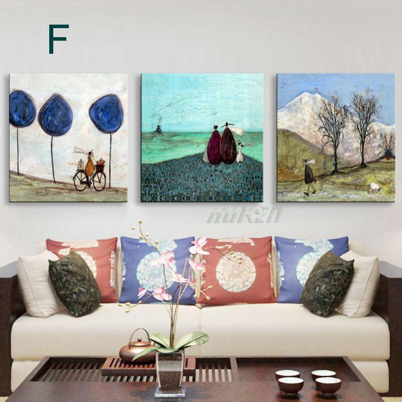 掛畫三件組【RS Home】北歐麋鹿無框掛畫相框木質壁畫裝飾畫板民宿攞飾油畫掛鐘掛畫 5