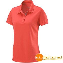 【【蘋果戶外】】荒野 W1621-13 橘紅 WildLand 女 疏水紗素色短袖POLO衫 吸濕排汗 運動上衣 休閒 運動 快乾透氣 輕薄舒適 大尺碼
