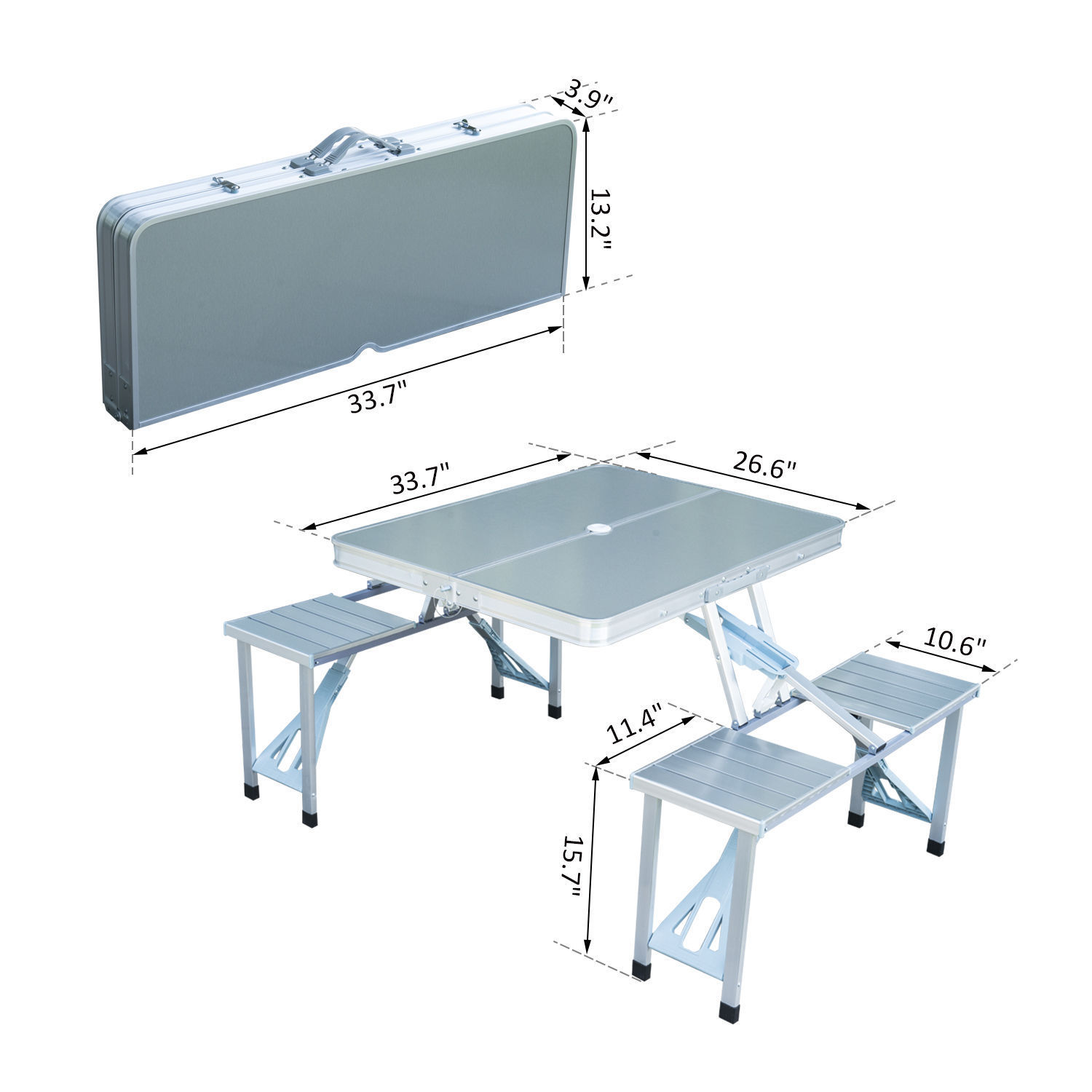 Outsunny Outdoor Aluminum Portable Folding Camp Suitcase Picnic Table with 4 Seats, Silver 5