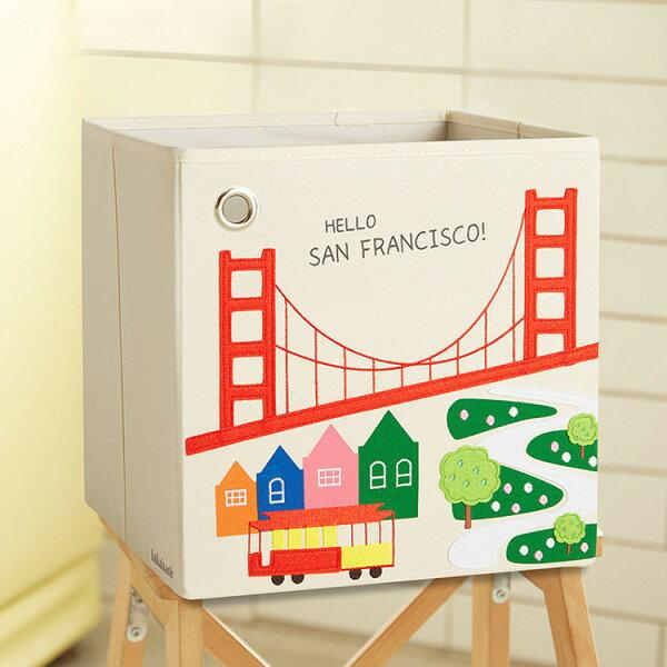 【2018新款】【限時2件特價再88折】美國【kaikai&ash】玩具收納箱-Hello!舊金山