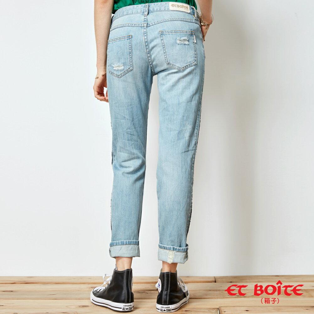 【春夏新品】率性刷破側邊條印花微彈直筒褲(淺藍) - BLUE WAY  ET BOiTE 箱子 2