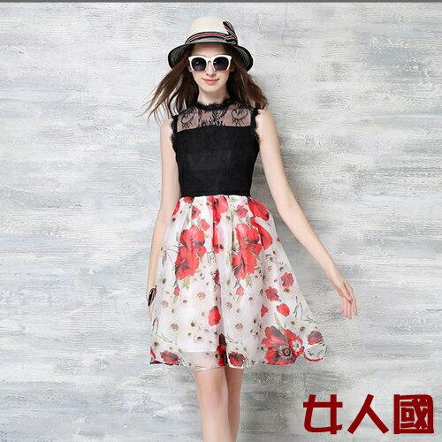春裝新款時尚女裝蕾絲拼接撞色花朵連衣裙公主大擺裙上衣款【8205】【2色S~XL】*86精品女人國*