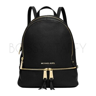 MICHAEL KORS 30S5GEZB1L 黑色皮革時尚金拉鍊小流蘇後背包 Rhea Leather Backpack black
