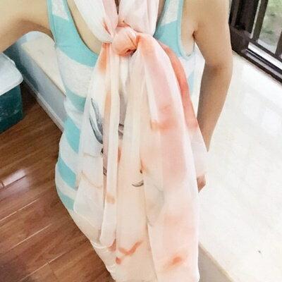 絲巾雪紡披肩~自然唯美水墨印花女 4色73hw40~ ~~米蘭 ~