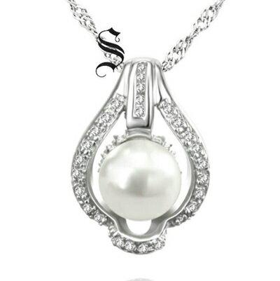 925純銀項鍊 珍珠吊墜~ 鑲鑽唯美情人節生日 女飾品73dh24~ ~~米蘭 ~