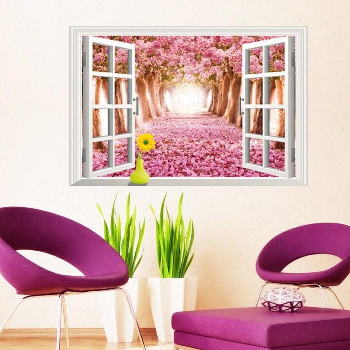 【壁貼王國】 窗景系列 無痕壁貼 《櫻花季 - AY9234 D》
