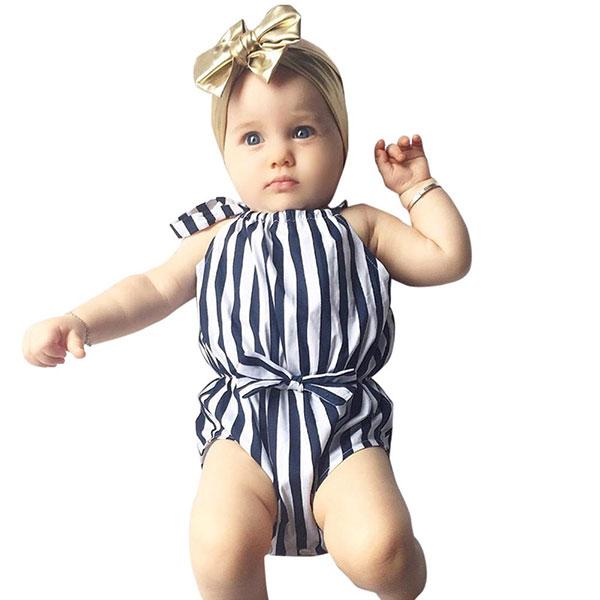 ins 條紋藍白 削肩背心 無袖 包屁衣 連體衣 連身褲 蝴蝶結 海軍風 海洋風 海邊度假