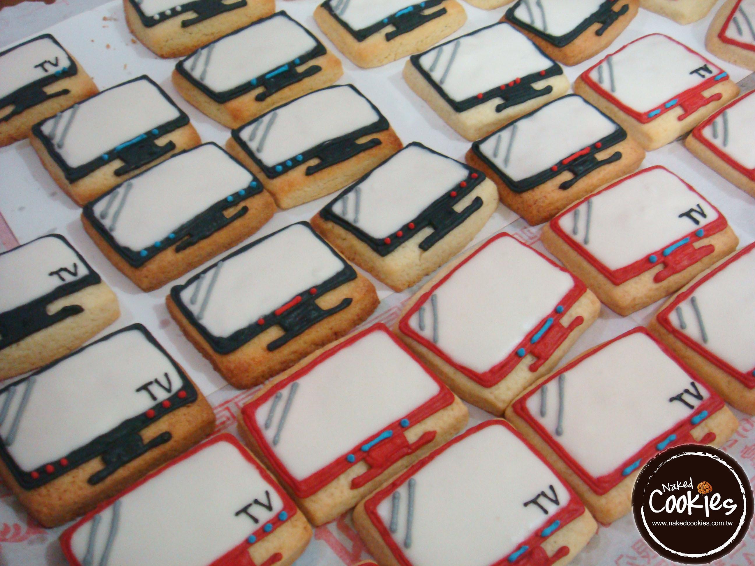 【裸餅乾Naked Cookies】電視主題-特殊客製6入-創意手工糖霜餅乾,婚禮/生日/活動/收涎/彌月