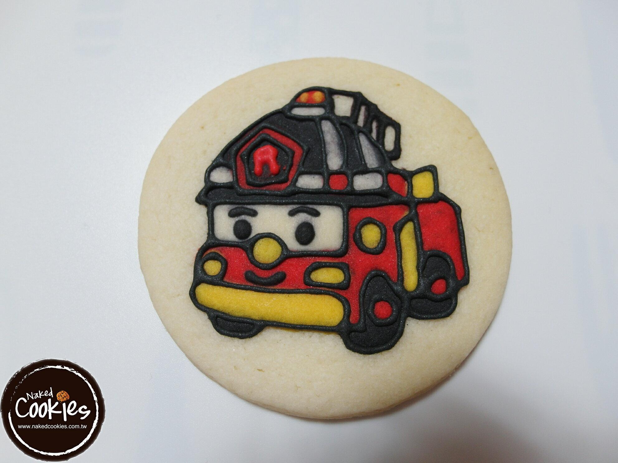【裸餅乾Naked Cookies】POLI波力(紅)主題-特殊客製6入-創意手工糖霜餅乾,婚禮/生日/活動/收涎/彌月